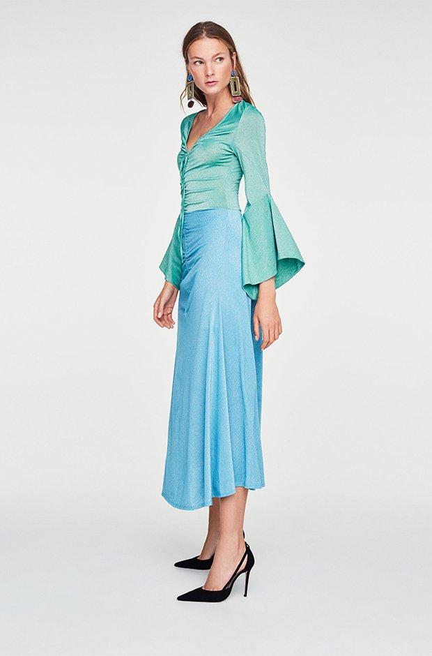 Vestido bicolor de Uterqüe