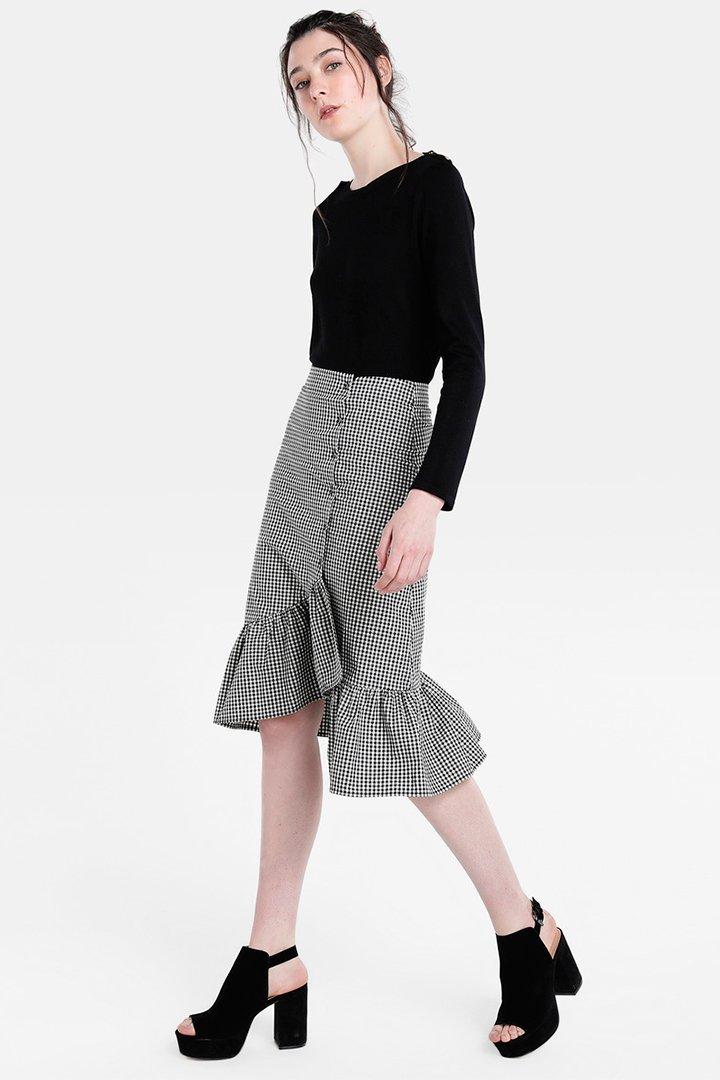 Falda de Easy Wear de cuadros con volantes