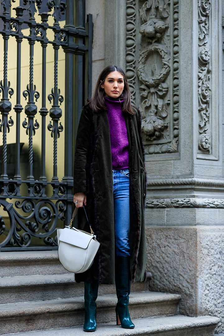 look clásico en el street style de Milan Fashion Week