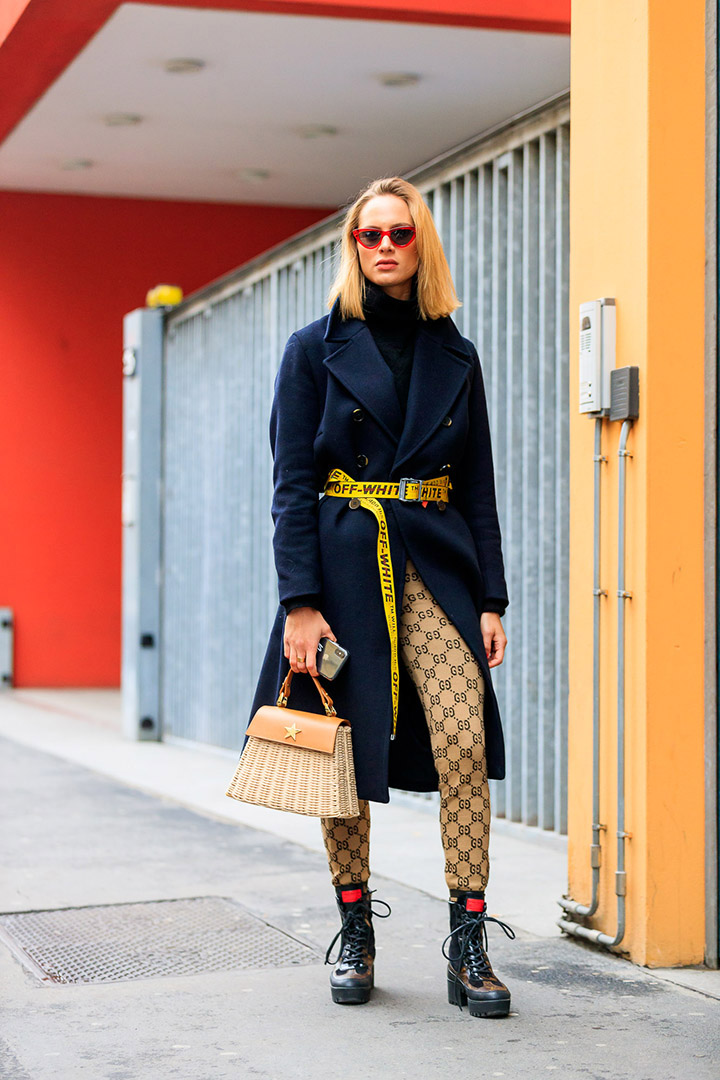 leggings en el street style de Milan Fashion Week
