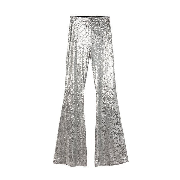 Pantalones campana en plata de la colección Ready to glow de Bershka
