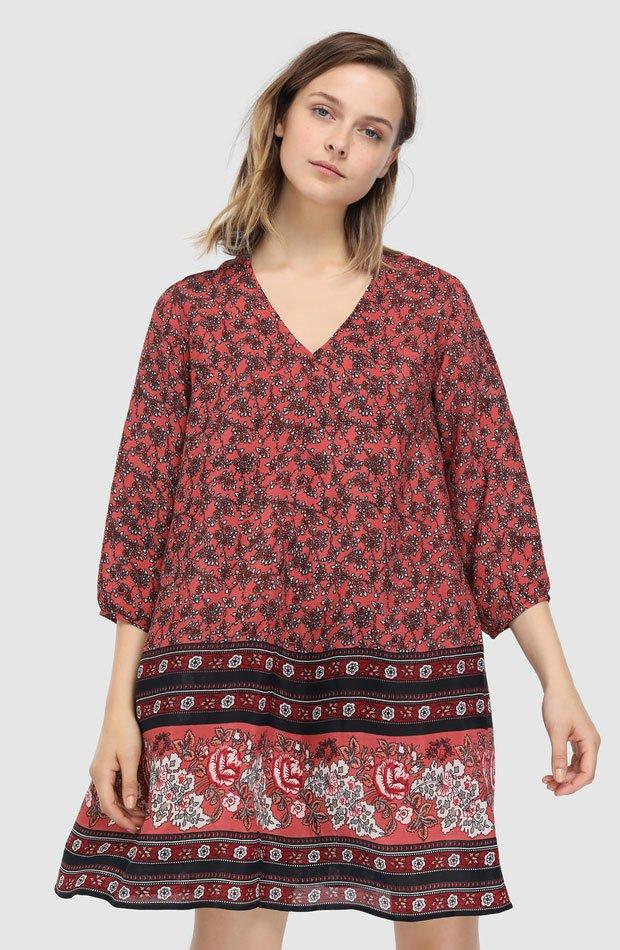 Vestido corto estampado de flores de Southern Cotton: prendas estampados otoño