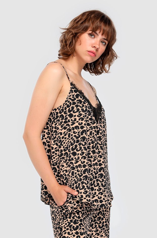 Top de Easy Wear de leopardo con encaje
