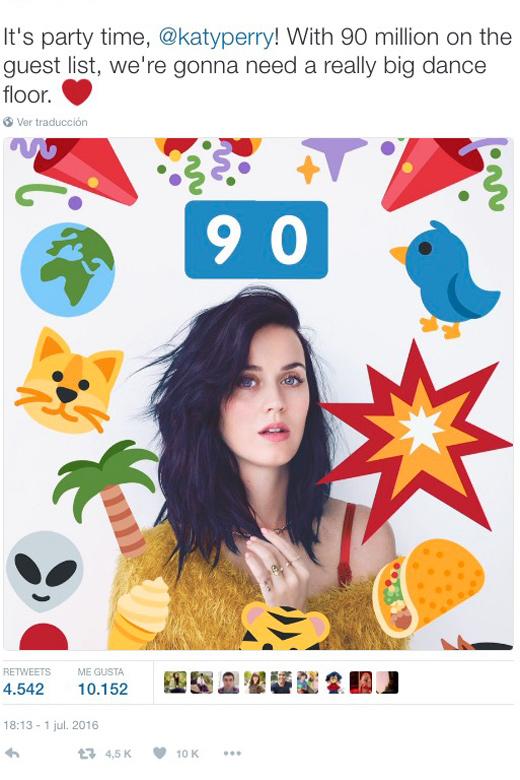Katy Perry la cantante con más seguidores en twitter