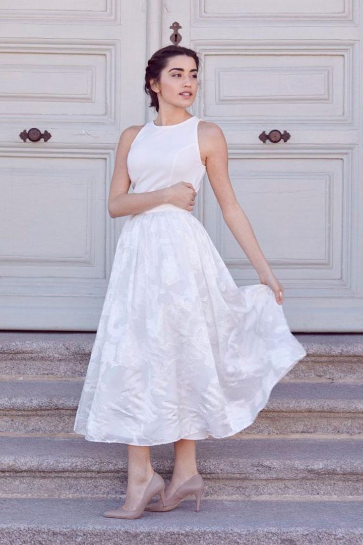 vestido novia civil cotonnus falda seda