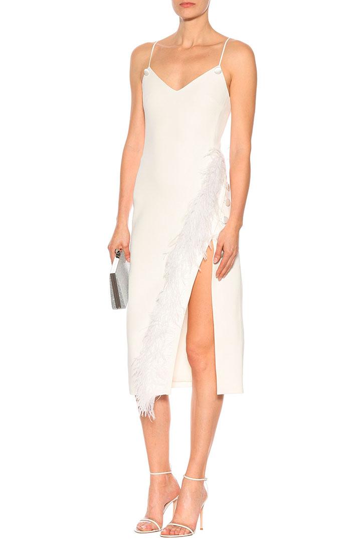 vestido novia civil david koma falda plumas