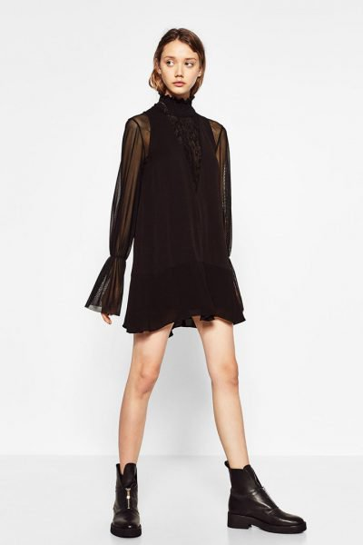 Vestido negro corto fiesta zara