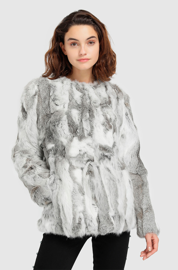 Abrigo corto de pelo de conejo en tonos grises