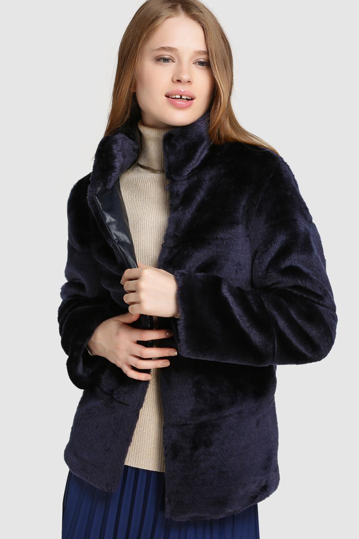 abrigos de invierno 2017, el corte inglés, abrigo azul de pelo de easy wear