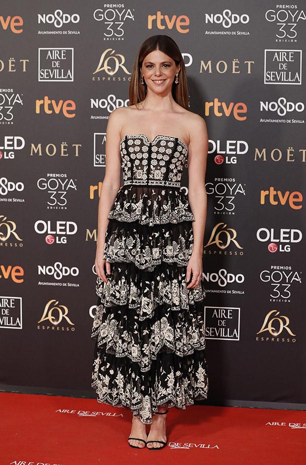 Manuela Velasco en la alfombra roja de los Premios Goya 2019