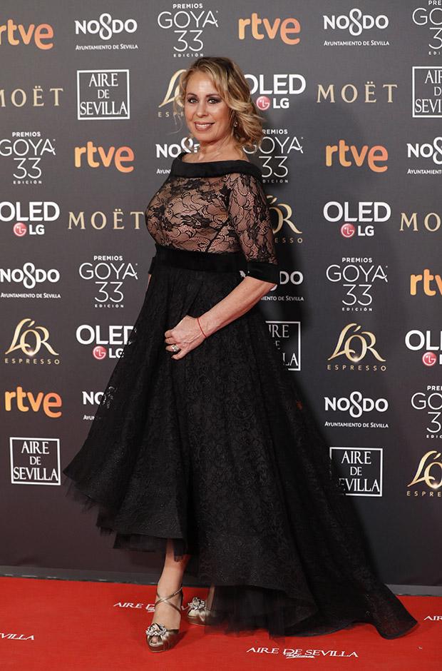 Miriam Díaz Aroca en la alfombra roja de los Premios Goya 2019