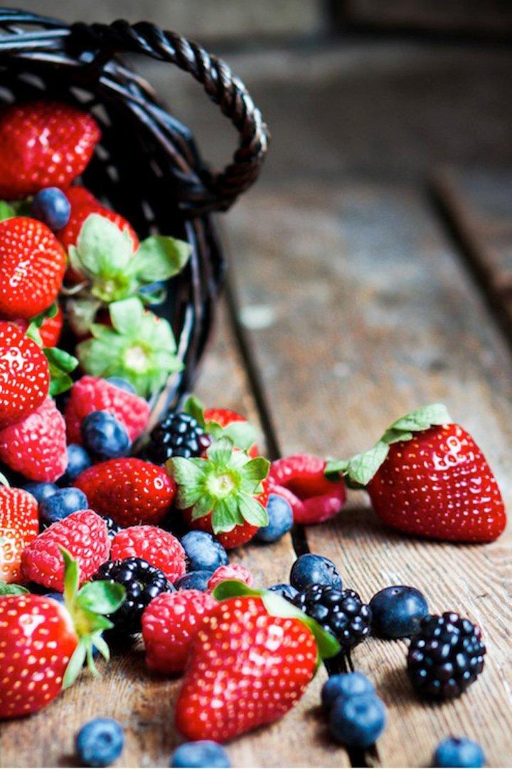 Alternativas al helado: fresas, frambuesas y arándanos