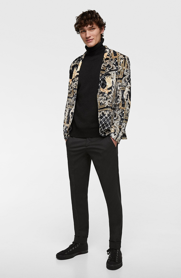 Blazer terciopelo estampado de Zara: tendencias masculinas 2019
