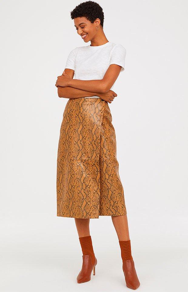 Falda de piel de la tendencia animal print