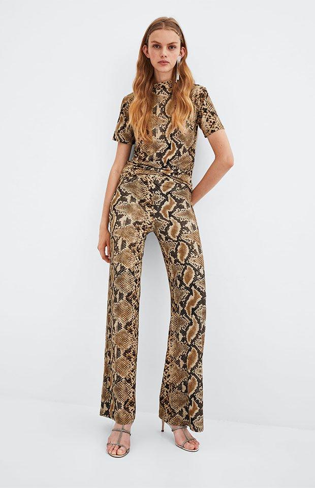 Pantalones de serpiente de la tendencia animal print