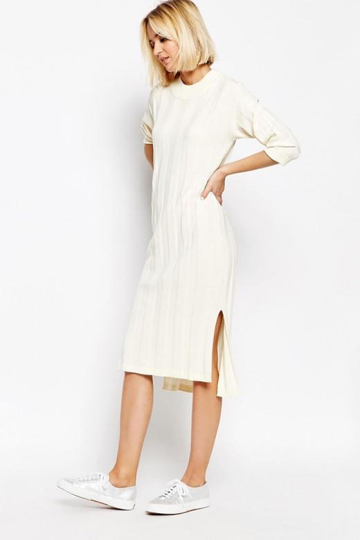 Vestido blanco de canalé