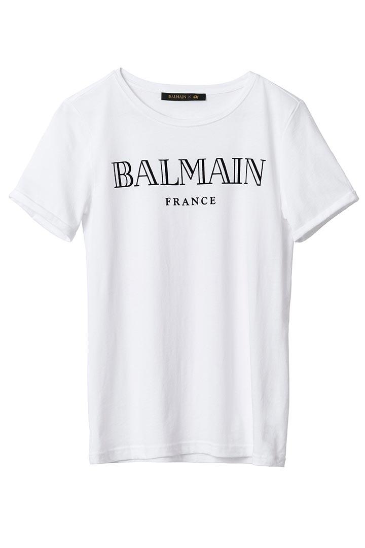 Camiseta blanca con logo de Balmain