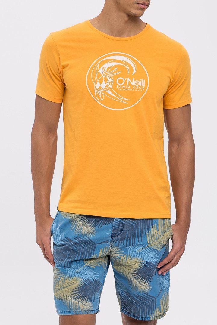 Camiseta naranja estampada