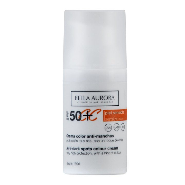 Crema Color SPF50+ Anti-Manchas de Bella Aurora: productos piel sensible