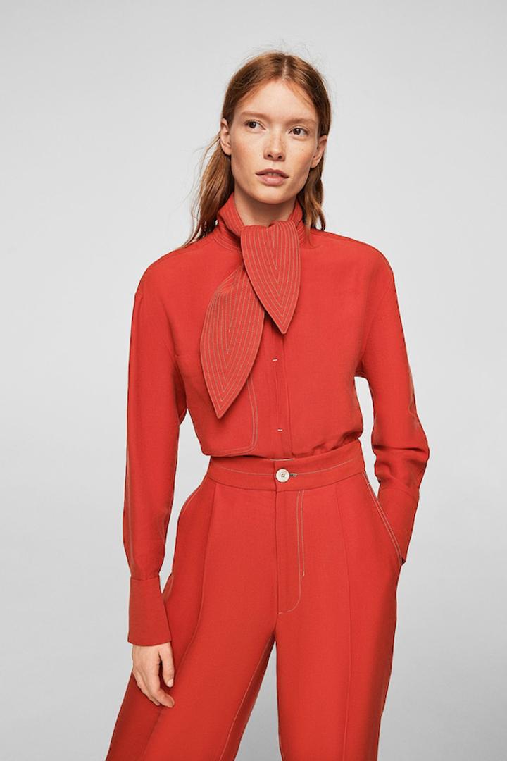 blusa lazo costuras contraste mango ropa
