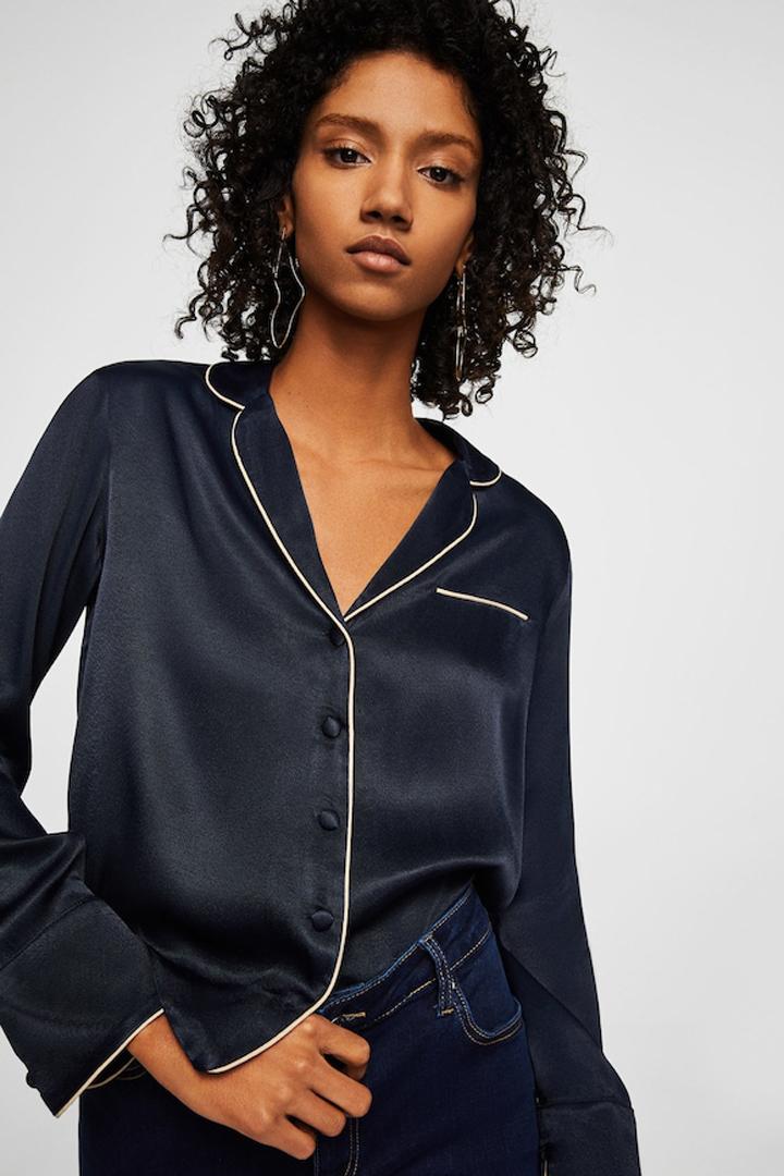 blusa satinada ribete contraste mango ropa