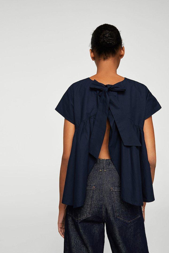blusa volante lazo mango ropa