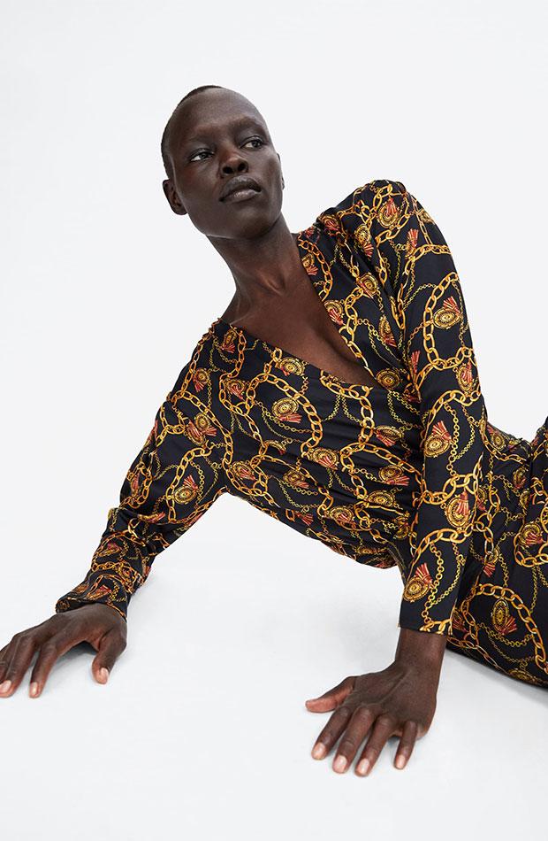 Body de estampado pañuelo de Zara