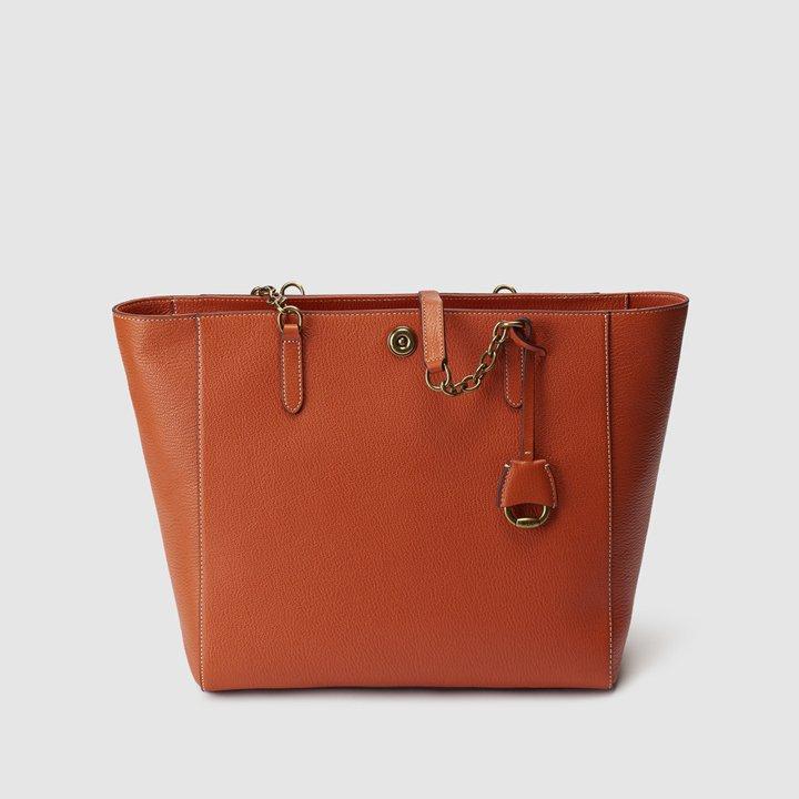 Tote de piel en naranja con cremallera de Lauren Ralph Lauren: fichajes de rebajas