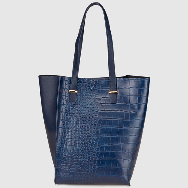 Bolso shopper azul con efecto cocodrilo