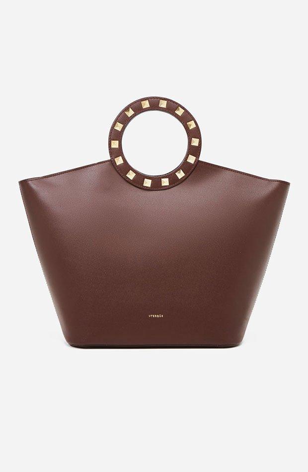 Capazo de piel en color marrón chocolate