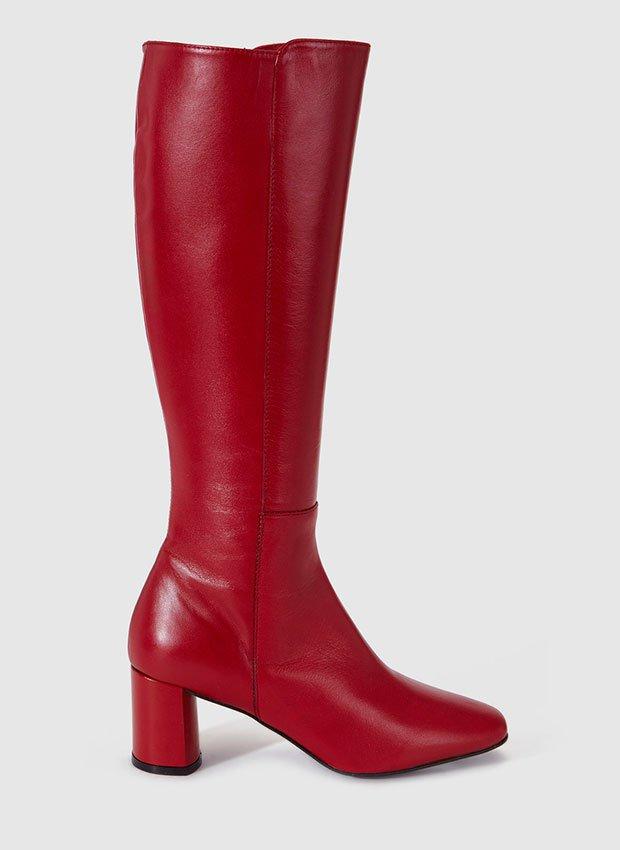 Botas de caña alta de Gloria Ortiz de piel en color rojo