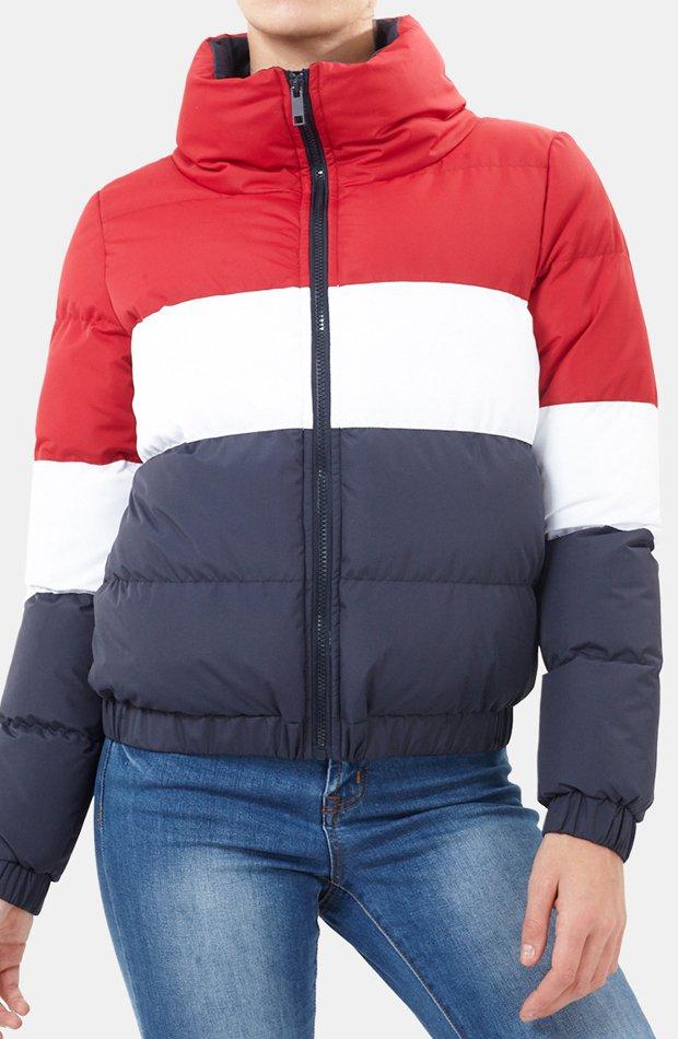 Plumífero color block con bajo ajustado de Brave Soul: abrigos tendencia