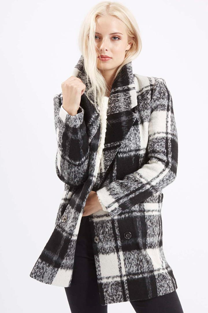 Abrigo cuadros bicolor