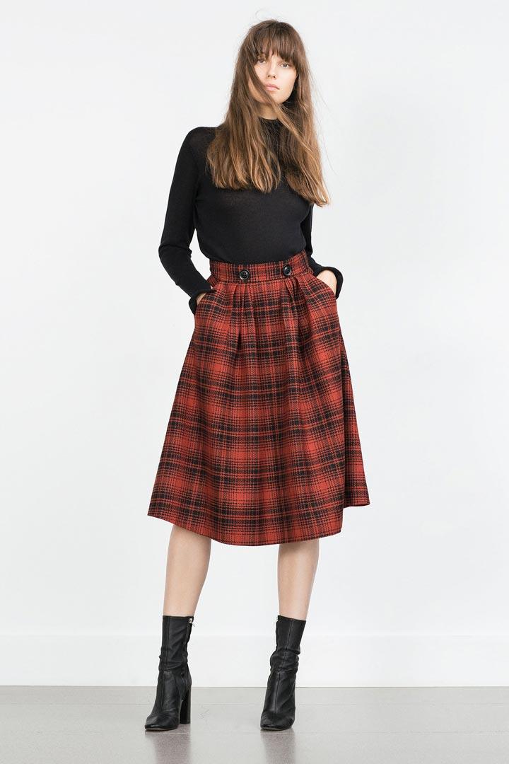 Falda midi de estampado tartán