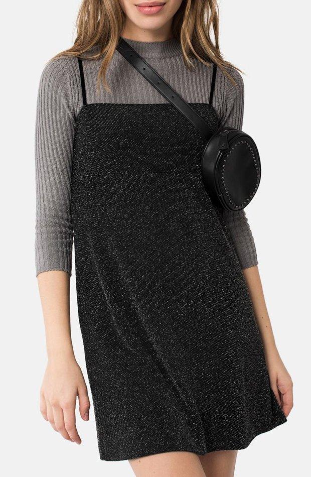 Vestido con tirantes en color negro de Brownie: prenda invierno vestidos