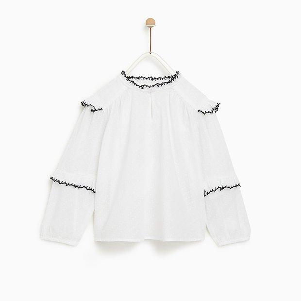 Camisa con volantes de Zara Kids invierno 2018