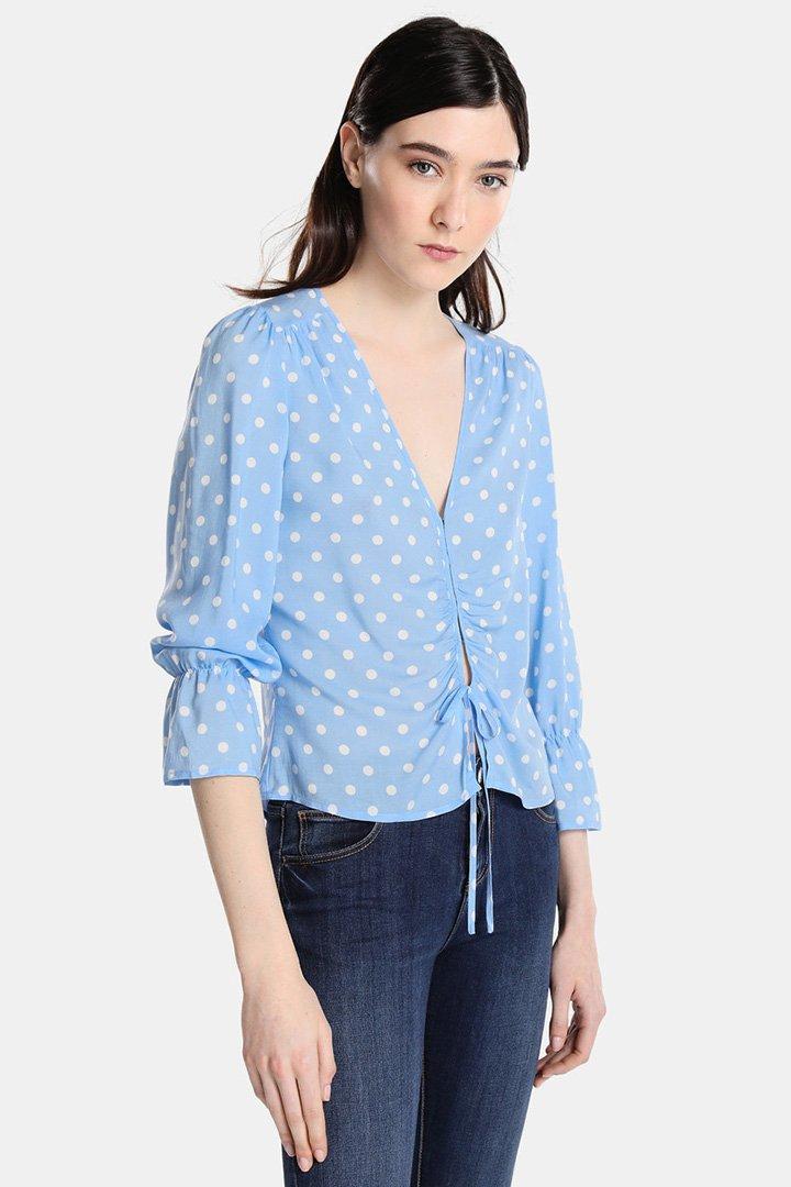 blusa azul de lunares de easy wear