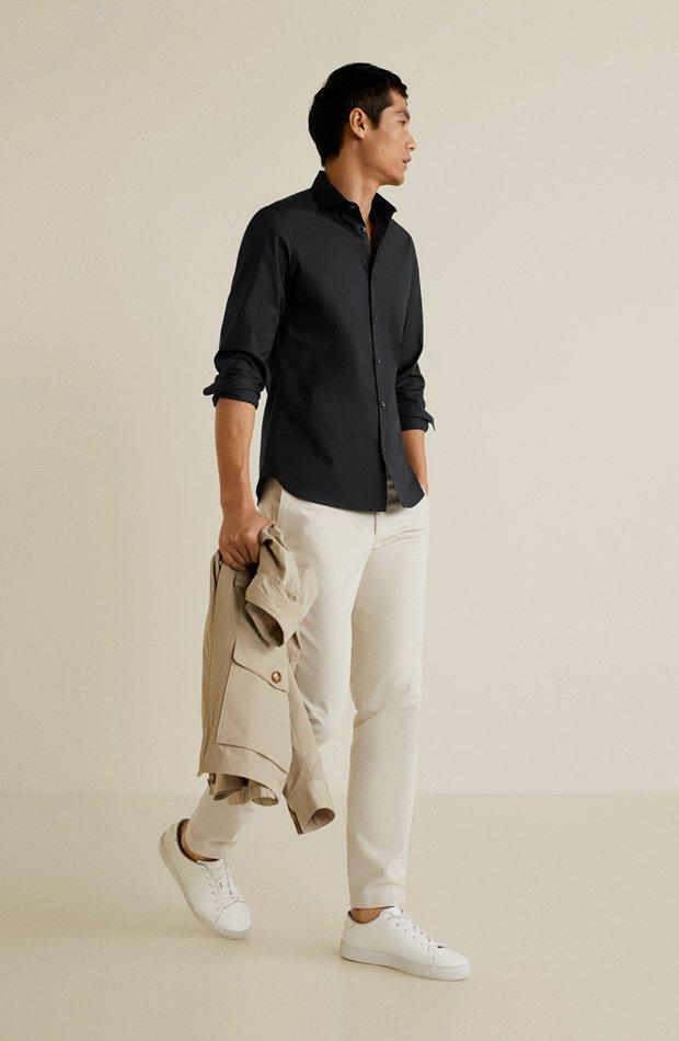 Camisa algodón stretch de Mango: tendencias masculinas 2019