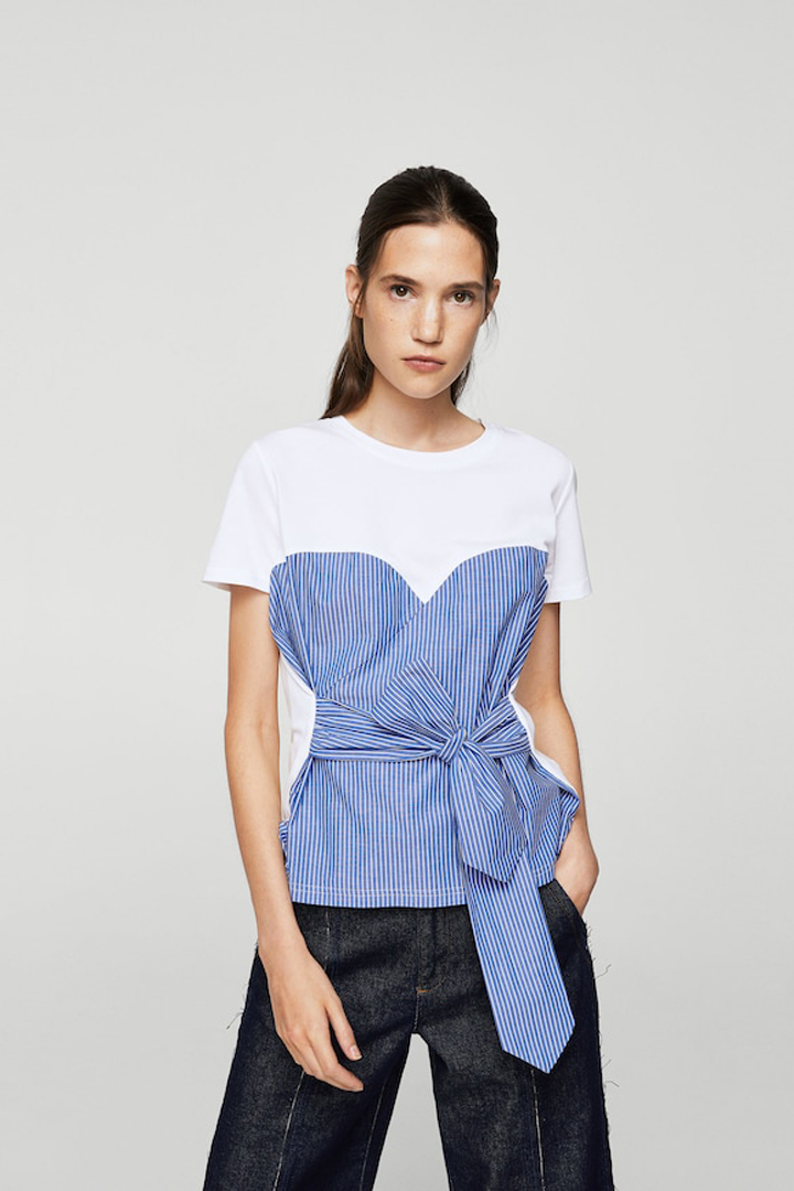 camiseta rayas nudo mango ropa