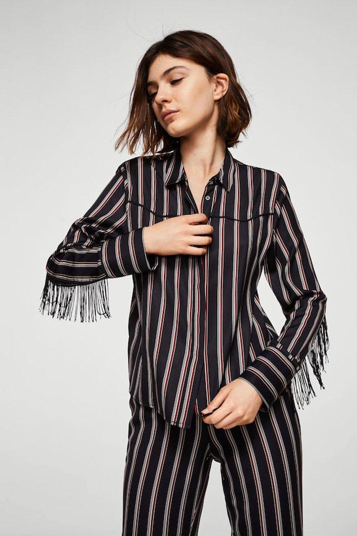 camisa flecos mango ropa