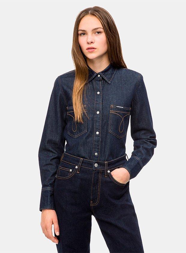 Camisa denim oscura de Calvin Klein