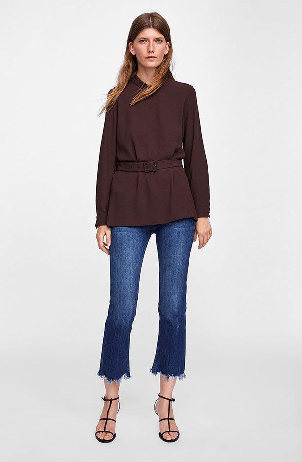 camisa en color marrón chocolate
