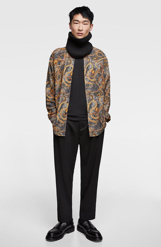 Camisa estampado cadenas de Zara: tendencias masculinas 2019