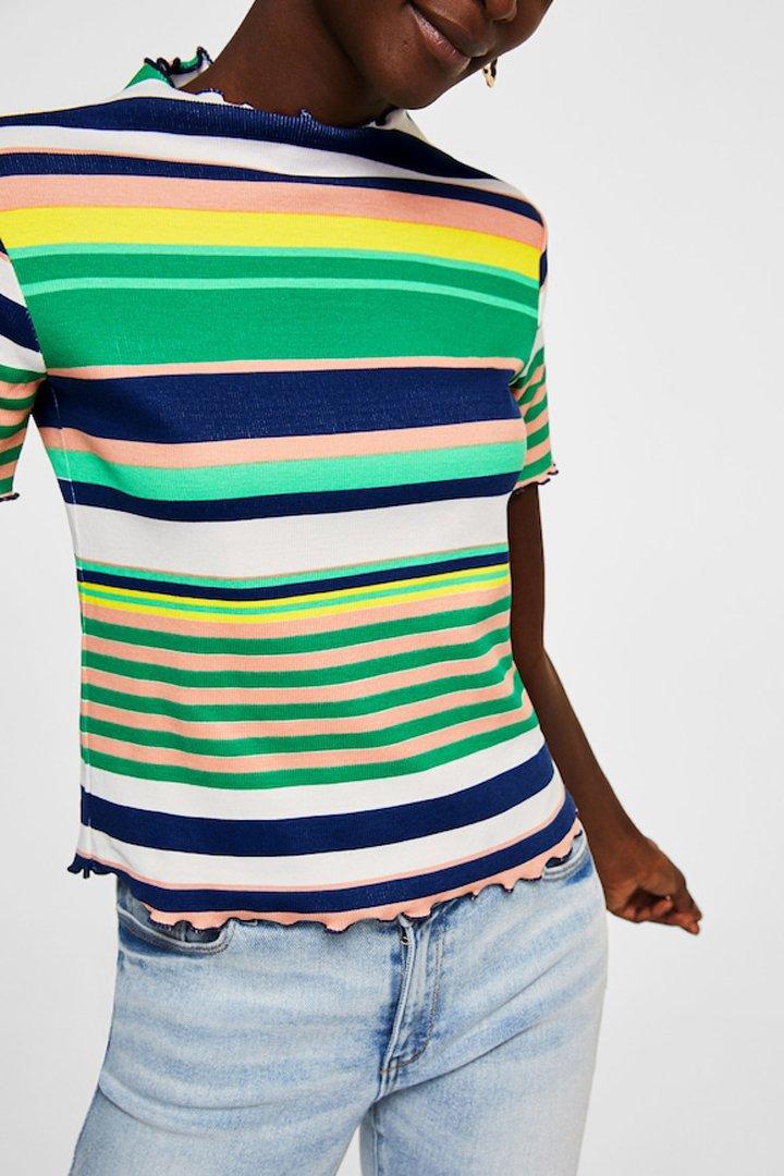 camiseta estampada ribetes mango ropa