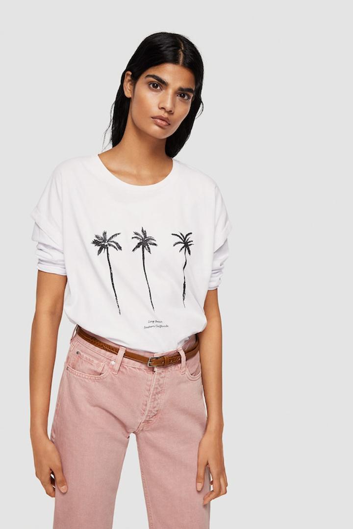 camiseta palmeras algodón orgánico mango ropa