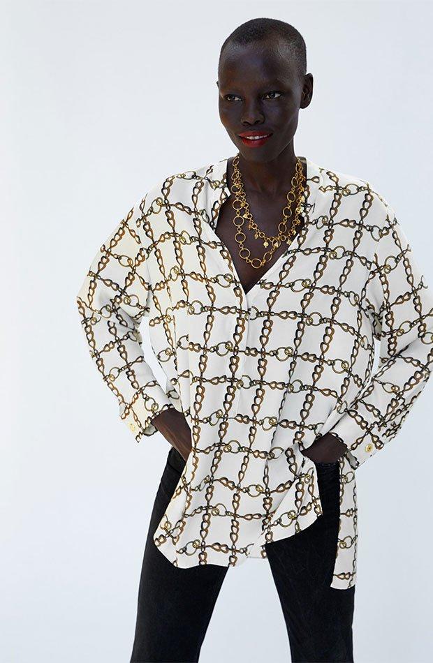 Camisola de estampado pañuelo de Zara