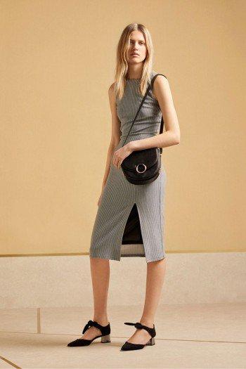 Vestido de canalé gris