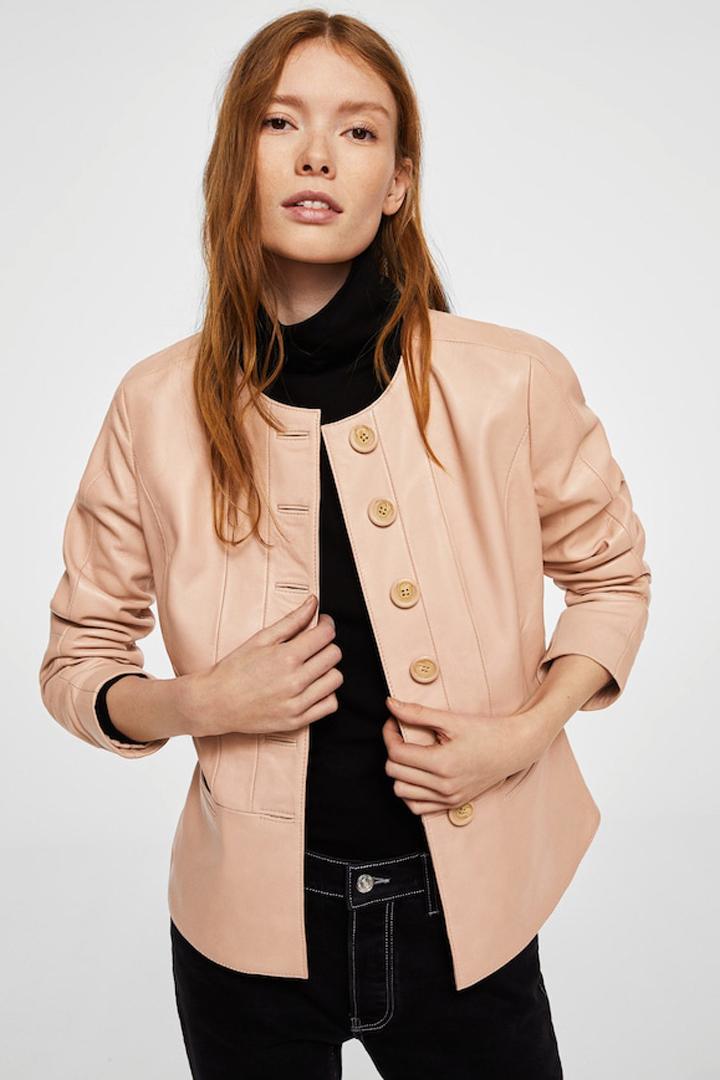 cazadora piel rosa mango ropa