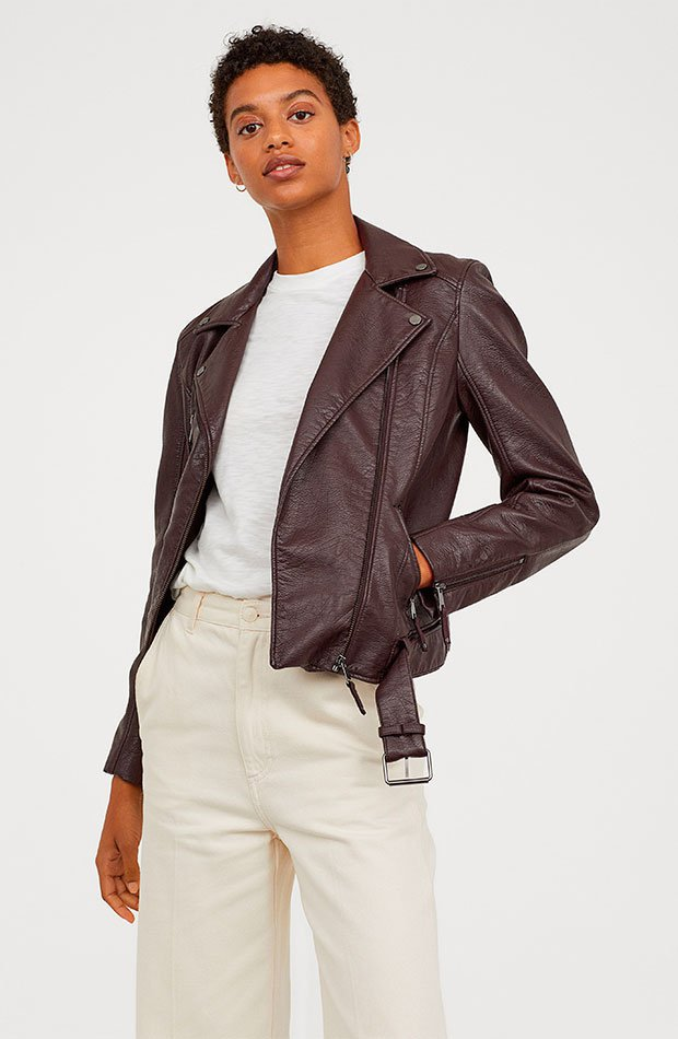 Cazadora motera de H&M en color marrón chocolate