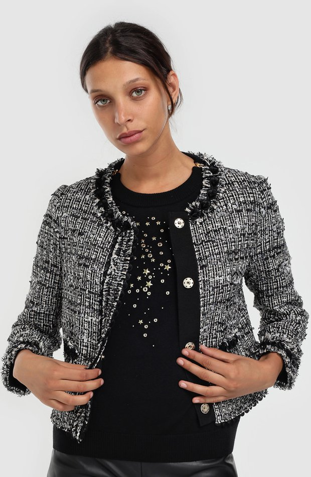 Chaqueta de tweed de Boutique Moschino: invitada de invierno